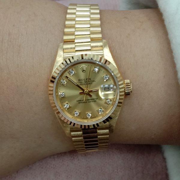 台中流當手錶拍賣 原裝 美品 勞力士 69178 十鑽面 18K金 自動 女錶 9成5新 喜歡價可議 ZR475