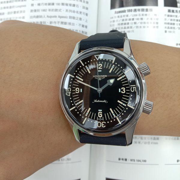 台中流當手錶拍賣 二手極新 原裝LONGINES 浪琴 不鏽鋼 自動 潛水錶 男錶 喜歡價可議 ZR508
