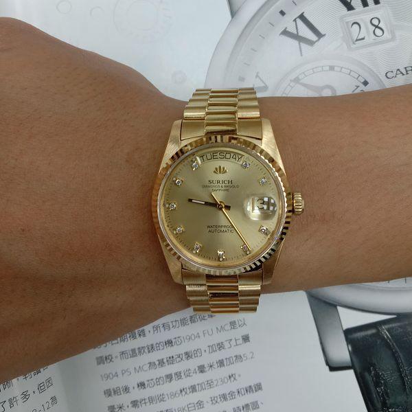 台中流當手錶拍賣 原裝 SURICH 蘇黎世 十鑽面 18K金 自動 男錶 9成5新 喜歡價可議 ZR511